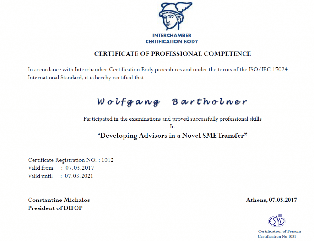 Zertifikat Bartholner Danae